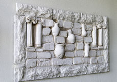 The plaster wall panel ancient Greece. Panels of wall decorative plaster with Greek motifs Royalty Free Stock Photo