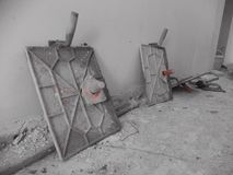 Plaster work for interior wall in construction site. Stock Image