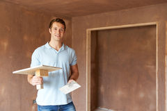 Plaster Working In Finished Room Stock Photos