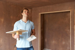 Plaster Working In Finished Room Stock Photography