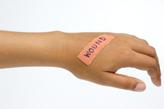 Plaster on the wound in women hand. Medical plaster on the wound in women hand on white background stock photography