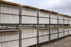 Plasterboard industrial production drying outdoor Stock Images