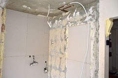 Plasterboard And Pipes Stock Images