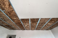 Plasterboard is under construction. Gypsum wall Royalty Free Stock Images