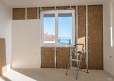Plasterboard is under construction. Royalty Free Stock Photo