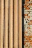 Plastered ribbed and bricks facade Royalty Free Stock Image