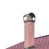 Plastered Terracota Painted Chimney, Stainless Steel Smoke Pipe Stock Images