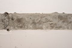 Plastered wall surface with strip of raw concrete Stock Photography