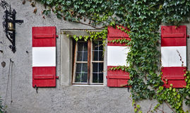 Plastered wall with window, green vines, antique bell and wooden shutters Royalty Free Stock Images