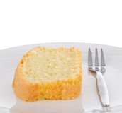 Plasterek świeży domowej roboty masło tort na talerzu Fotografia Stock