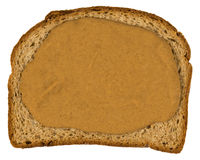 Plasterek Całej banatki chleb, masło orzechowe Odizolowywający Obraz Royalty Free
