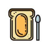 Plasterek chleb grzanka z miodową myśli linii ikoną Obrazy Royalty Free