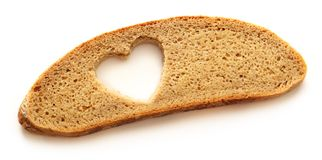 Plasterek chleb i serce Zdjęcie Stock