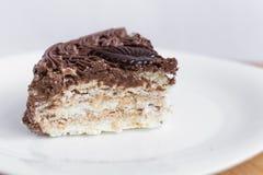 Plasterek Czekoladowy tort na bielu talerzu zdjęcie royalty free