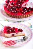 Plasterek czereśniowy cheesecake obraz stock