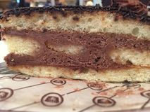 Plasterek dekadencki czekoladowy tort obrazy stock