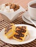 Plasterek gąbka tort z herbatą fotografia royalty free