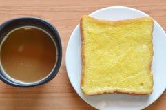 Plasterek kawa i chleb Obraz Stock