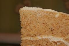 Plasterek płatowaty miodowy tort na nieociosanym tle Zdjęcie Stock