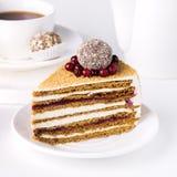 Plasterek Smakowity Domowej roboty miód i Cranberries Zasychamy Białego tła Smakowitą Deserową filiżankę herbata kwadrata tort z  Fotografia Stock