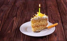 Plasterek urodzinowy tort z świeczką Obrazy Royalty Free