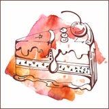 Plasterek wanilia tort z wiśnią Fotografia Royalty Free
