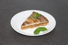 Plasterek zebry cheesecake z nowymi liśćmi Zdjęcie Royalty Free