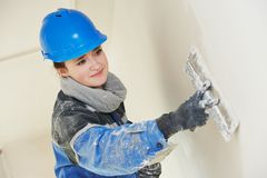 Free Plasterer At Indoor Wall Work Royalty Free Stock Image - 46377836