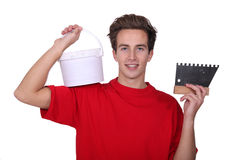 Plasterer with bucket Stock Images