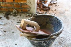 Plasterer cement for construction work Royalty Free Stock Photography