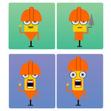 Plasterer characters with orange helmet Royalty Free Stock Photography