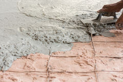 Plasterer concrete cement floor Royalty Free Stock Image