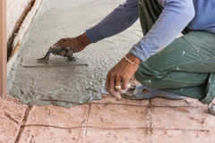 Plasterer concrete cement floor Stock Images