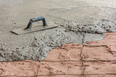 Plasterer concrete cement floor Stock Photo