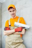 Plasterer at indoor ceiling work Royalty Free Stock Photography