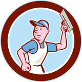 Plasterer Masonry Worker Circle Cartoon Stock Images