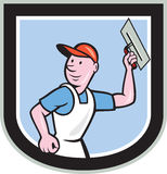 Plasterer Masonry Worker Shield Cartoon Royalty Free Stock Photography