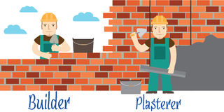 Plasterer and masons at work. Flat icon. Stock Image