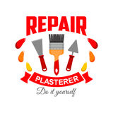 Plasterer pepair badge sign with work tool icon Stock Photos