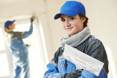 Plasterer Portrait at indoor wall work Royalty Free Stock Images