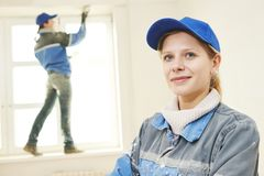 Plasterer Portrait at indoor wall work Stock Photo