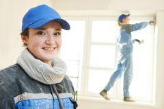Plasterer Portrait at indoor wall work Stock Photography