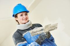 Plasterer Portrait at indoor wall work Royalty Free Stock Image