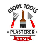 Plasterer repairs home work tools icon Royalty Free Stock Images