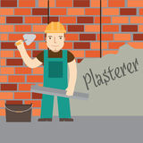 Plasterer and Wall of red bricks. Stock Photography