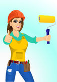 Plasterer woman with paint roller Royalty Free Stock Image