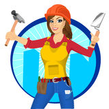 Plasterer woman with trowel and paint roller Royalty Free Stock Photos