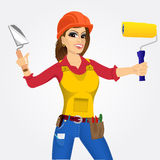 Plasterer woman with trowel and paint roller Stock Images