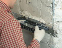 Plasterer at work Royalty Free Stock Photography