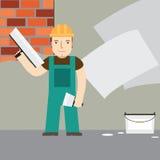 Plasterer at work. Flat icon. Royalty Free Stock Photo